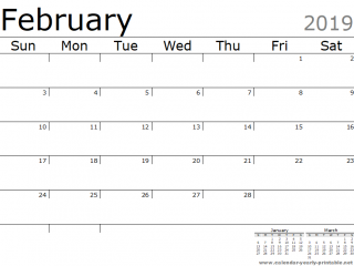 February 2019 calendar with holidays Clean Next Months Landscape