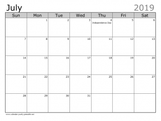 July 2019 Calendar With Holidays