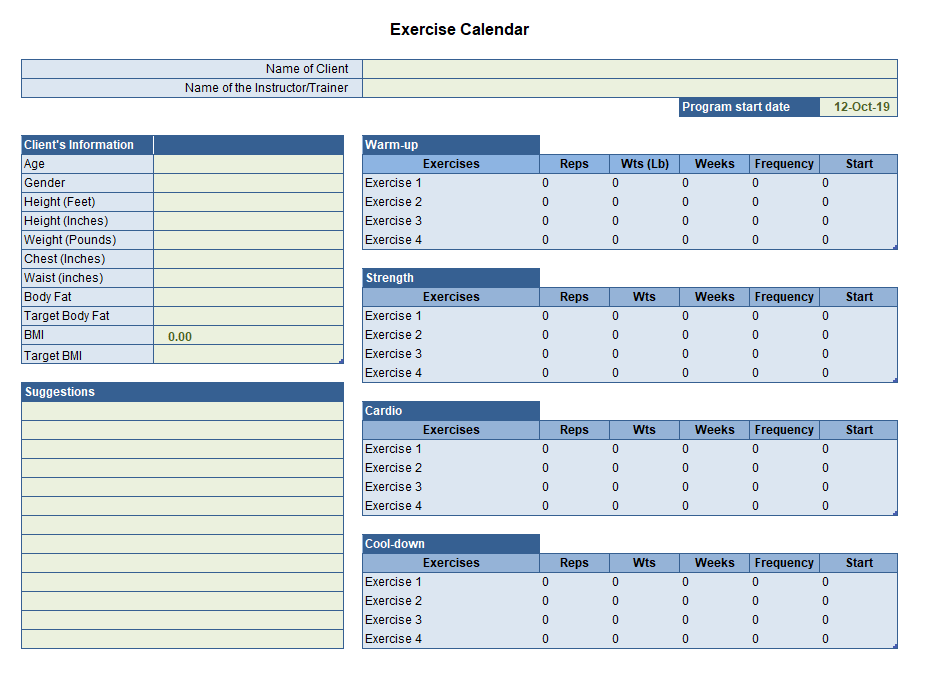 Monthly Exercise Calendar