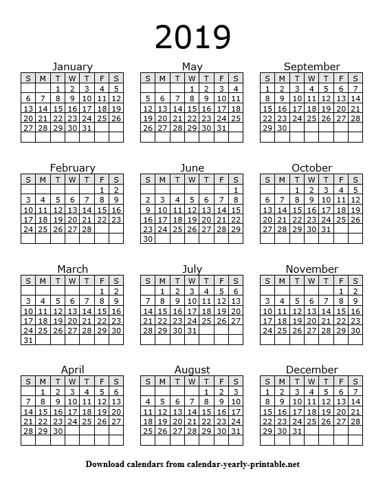 2019 Yearly Calendar On One Page