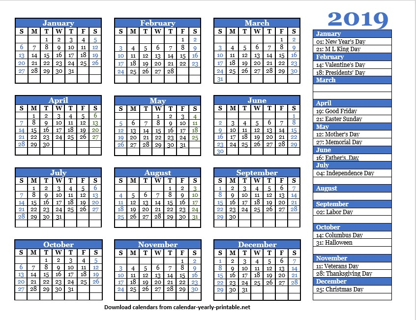 2019 Yearly Calendar With Holidays