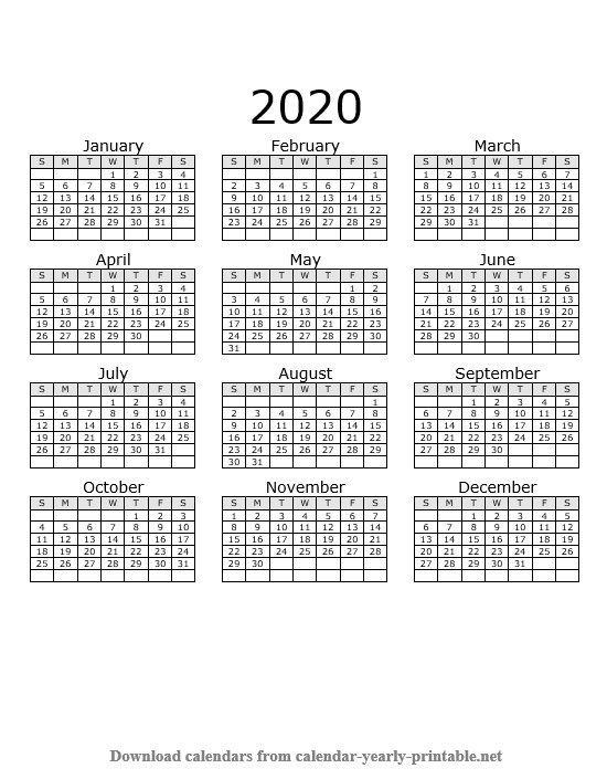 2020 Yearly Calendar On One Page
