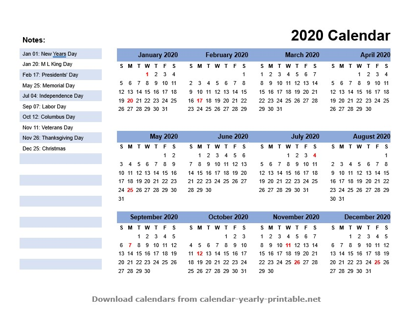 2020 yearly calendar template us holidays