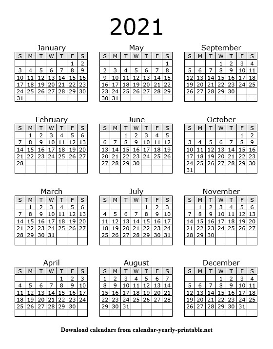 2021 Yearly Calendar On One Page