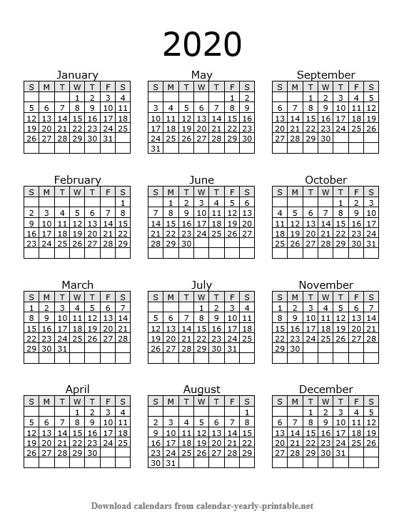 Yearly Calendar On One Page
