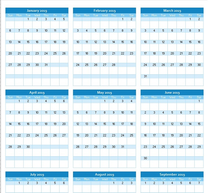 yearly calendar planner 2019