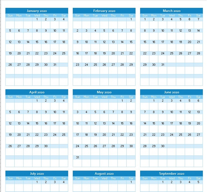 yearly calendar planner 2020