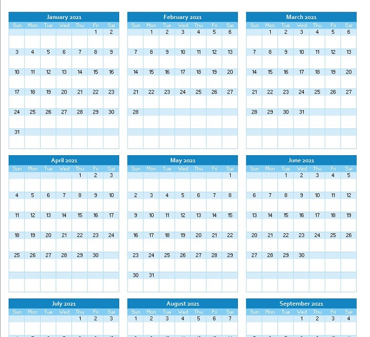 yearly calendar planner 2021