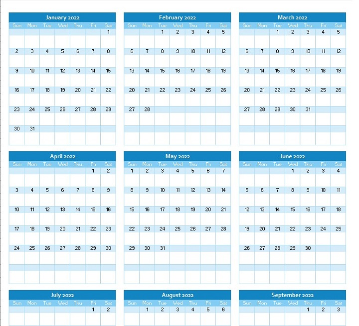 yearly calendar planner 2022