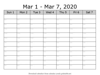 Weekly Calendar with Time Slots 09